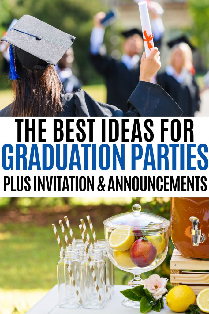 people graduation and outdoor party table with text the best ideas for graduation parties plus invitations and announcements