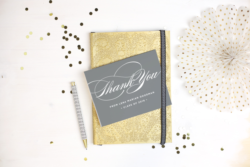 graduation thank you cards with notebook and pen