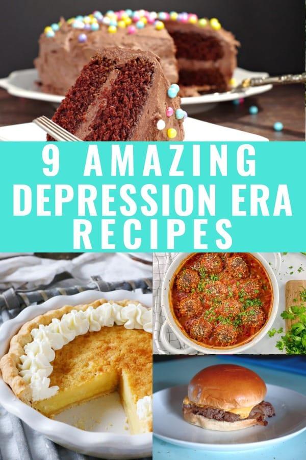 collage of depression era recipes