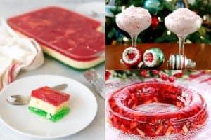 collage of christmas jello desserts