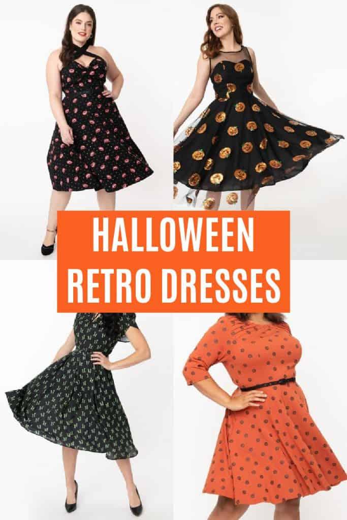 collage of retro halloween dresses