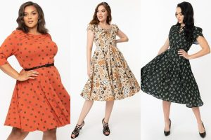 collage of three halloween dresses